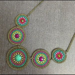 Jewel Tone Beaded Circles Necklace,NWT